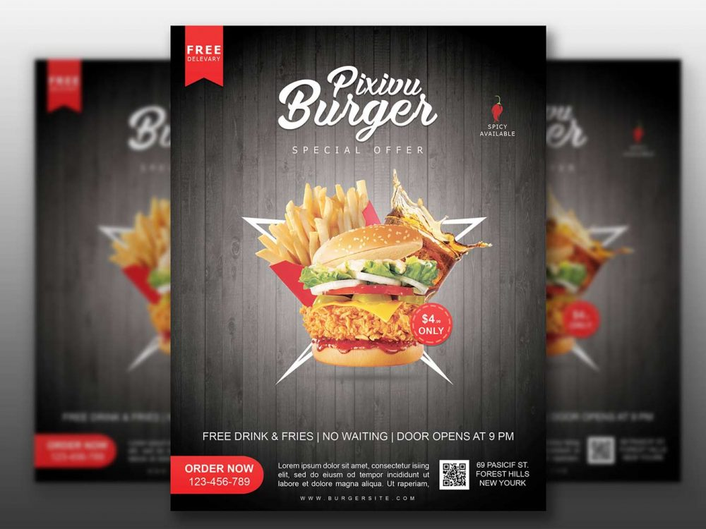 Fast Food Flyer Mockup Free