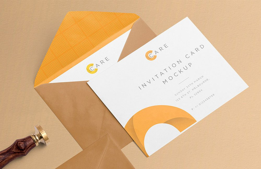 Free Invitation Mockup With Card And Envelope 2020 Daily
