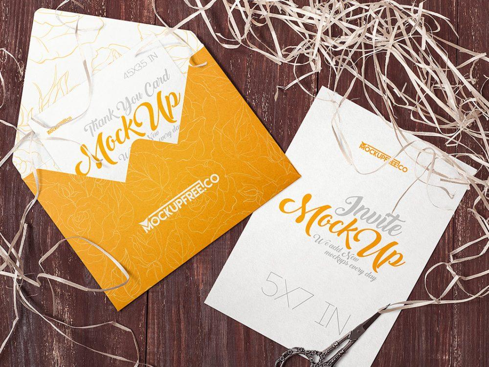 Free Invitation & Envelope Mockups