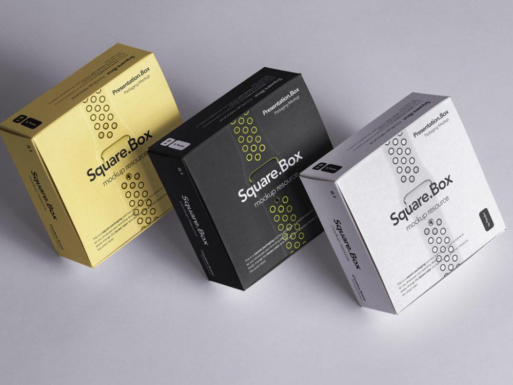 Square Boxes Mockup