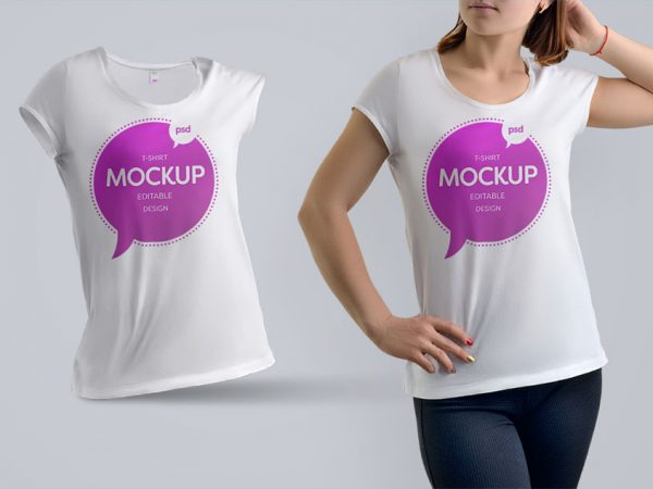 Women T-shirt Free PSD Mockup