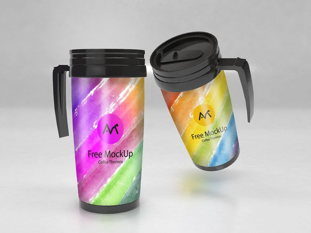 Free Thermos Bottle Mockup PSD