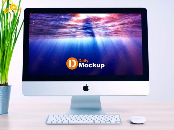 Free iMac Mockup with Desk