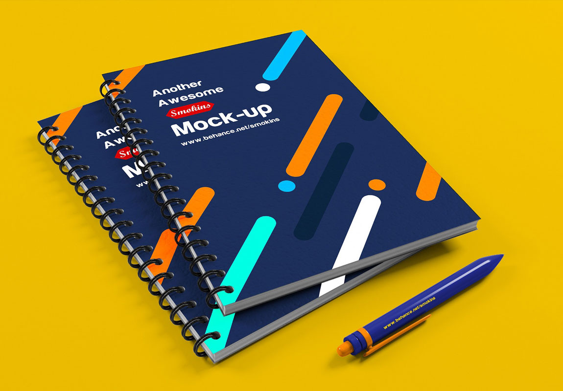 free note book psd mockup