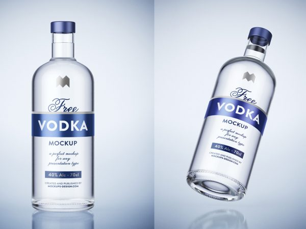 Free Vodka Glass Bottle Mockup