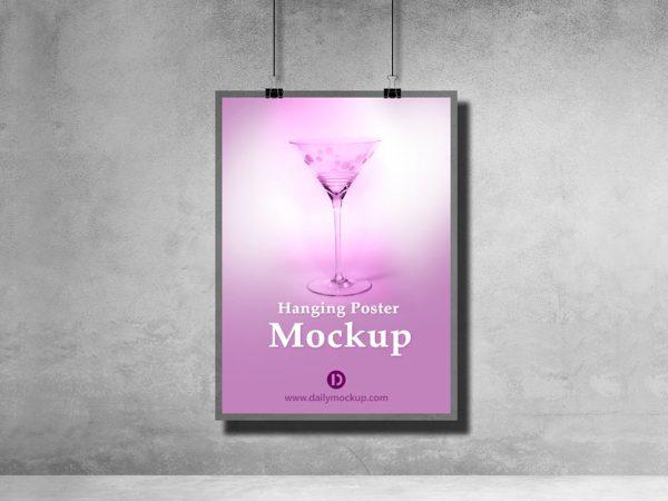 Hanging Poster Mockup Free