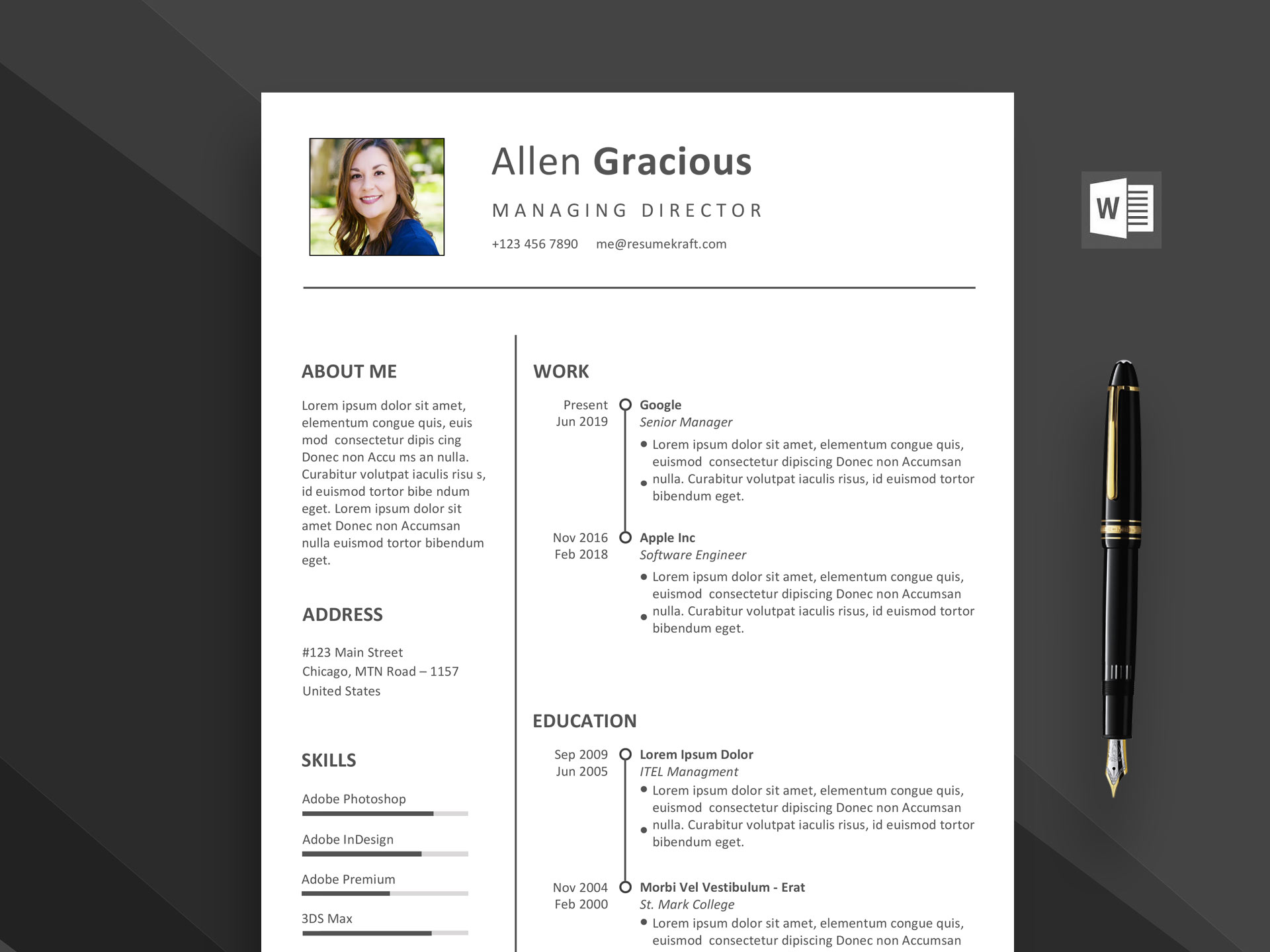 word resume template free download 2020