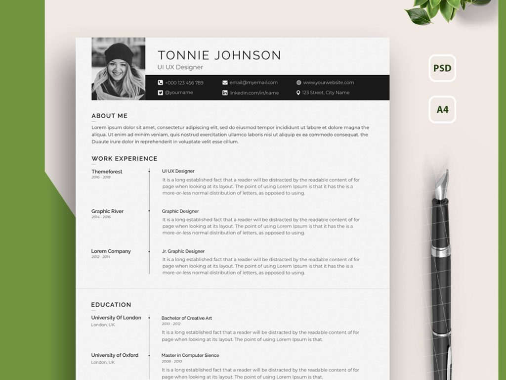 free clean resume template psd 2020