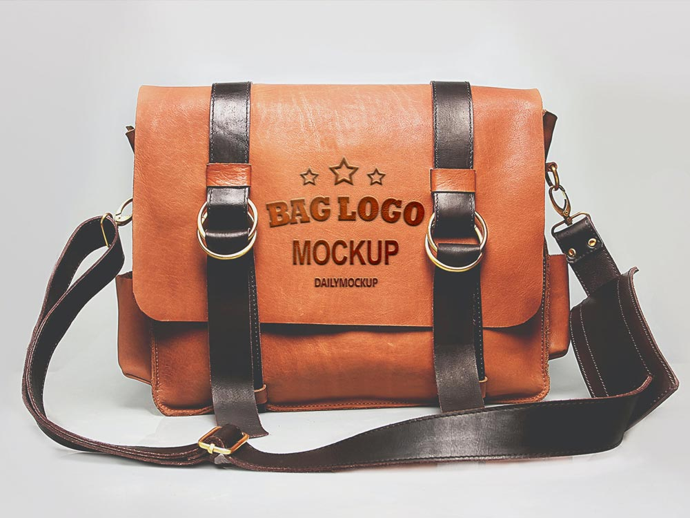 Embossed Logo Mockup on Leather Bag