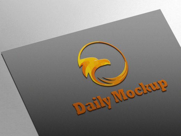 Free Card Embossed Logo Mock-up