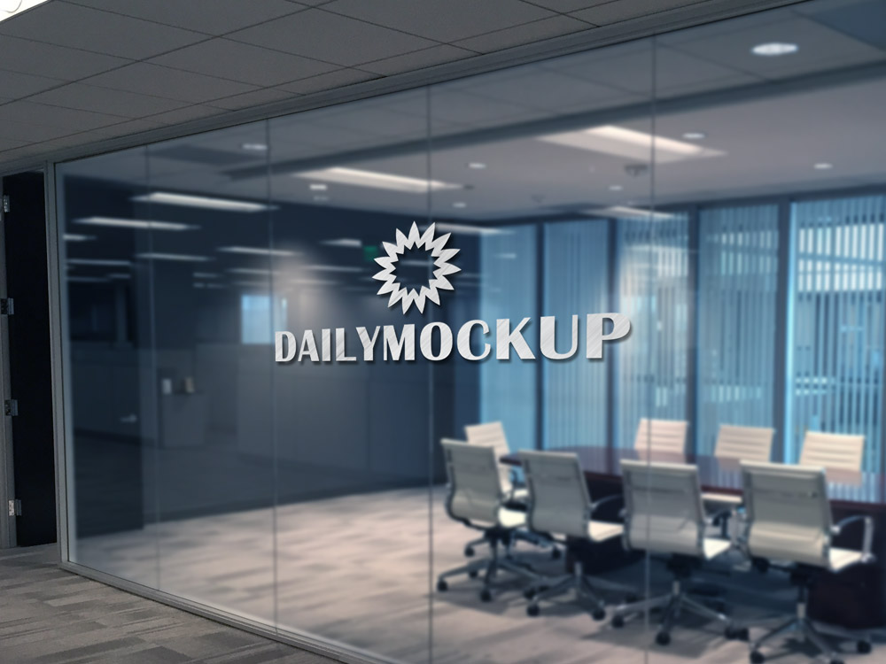 Logo Mockup on Office Glass
