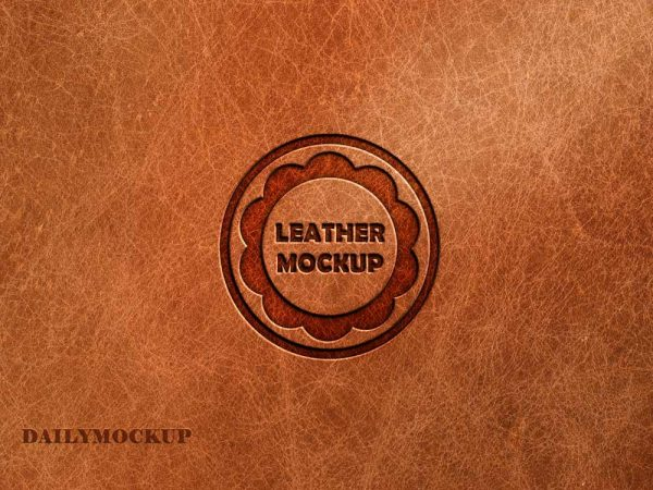Pressed Leather Logo Mockup Free