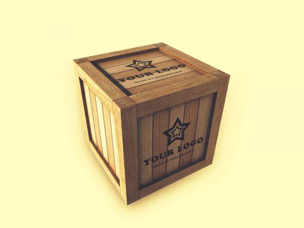 Wooden Box Logo Mockup Free