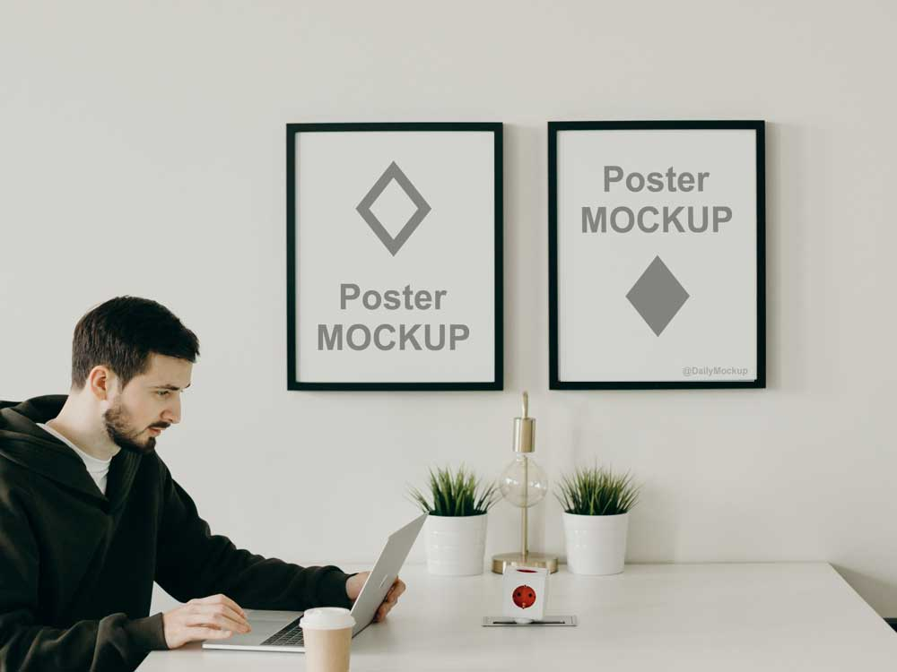 Office Poster Mockup PSD